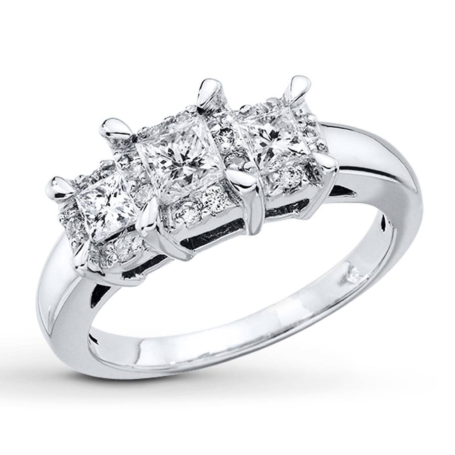 Princess Cut Engagement Rings – Diamond Wedding Rings Store Throughout Most Recent 3 Stone Anniversary Rings Settings (View 7 of 25)