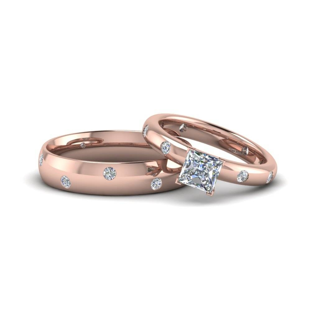 Princess Cut Shaped Couple Wedding Rings His And Hers Matching With Most Current Anniversary Rings Sets (View 10 of 25)