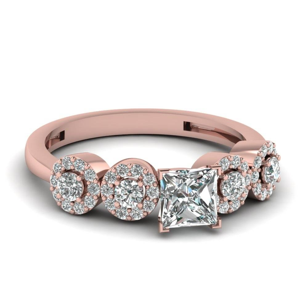 Princess Halo Diamond Accents Wedding Anniversary Ring Gifts In With Regard To Most Current Rose Gold Anniversary Rings (Gallery 9 of 25)