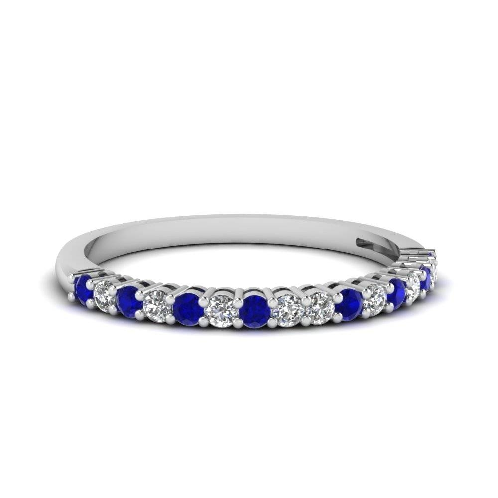 Prong Blue Sapphire Wedding Band | Fascinating Diamonds Throughout 2018 Blue Diamond Anniversary Rings (Gallery 7 of 25)