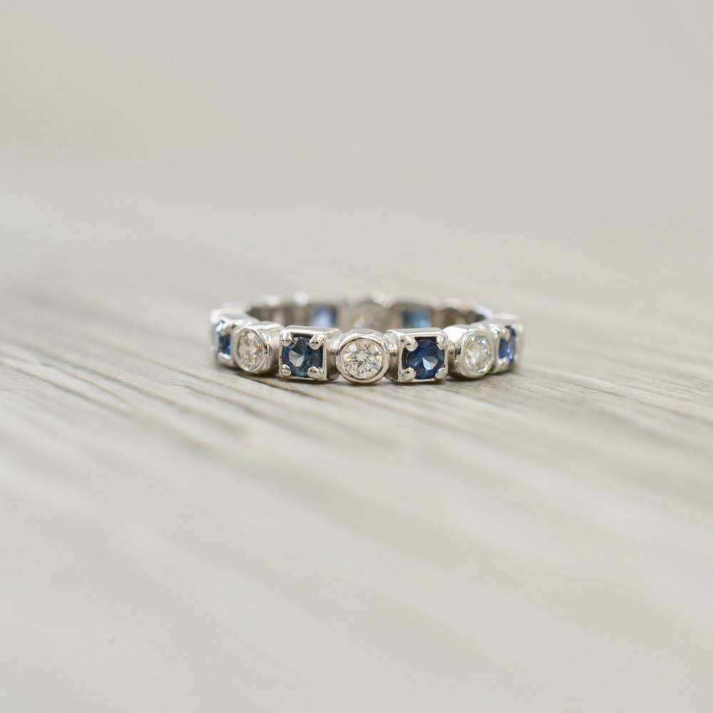 & Prong Set Diamond & Sapphire Eternity Band In White Pertaining To Most Up To Date Sapphire Anniversary Rings (View 1 of 25)