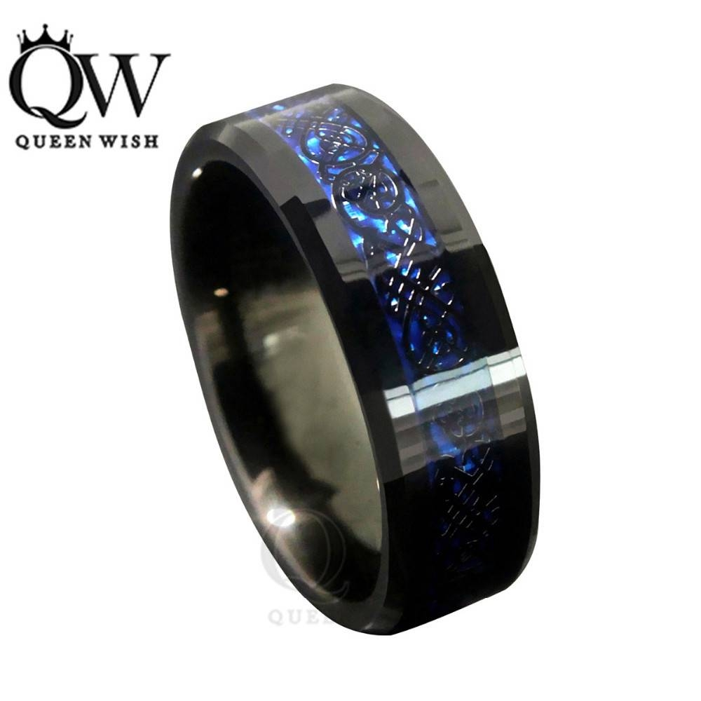 Queenwish 8Mm Blue Black Silvering Celtic Knot Tungsten Carbide With Regard To Most Recently Released Celtic Anniversary Rings (View 20 of 25)