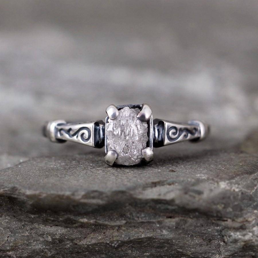 Raw Diamond Engagement Ring – Art Deco Inspired Sterling Silver Intended For Newest Silver Anniversary Rings (View 17 of 25)
