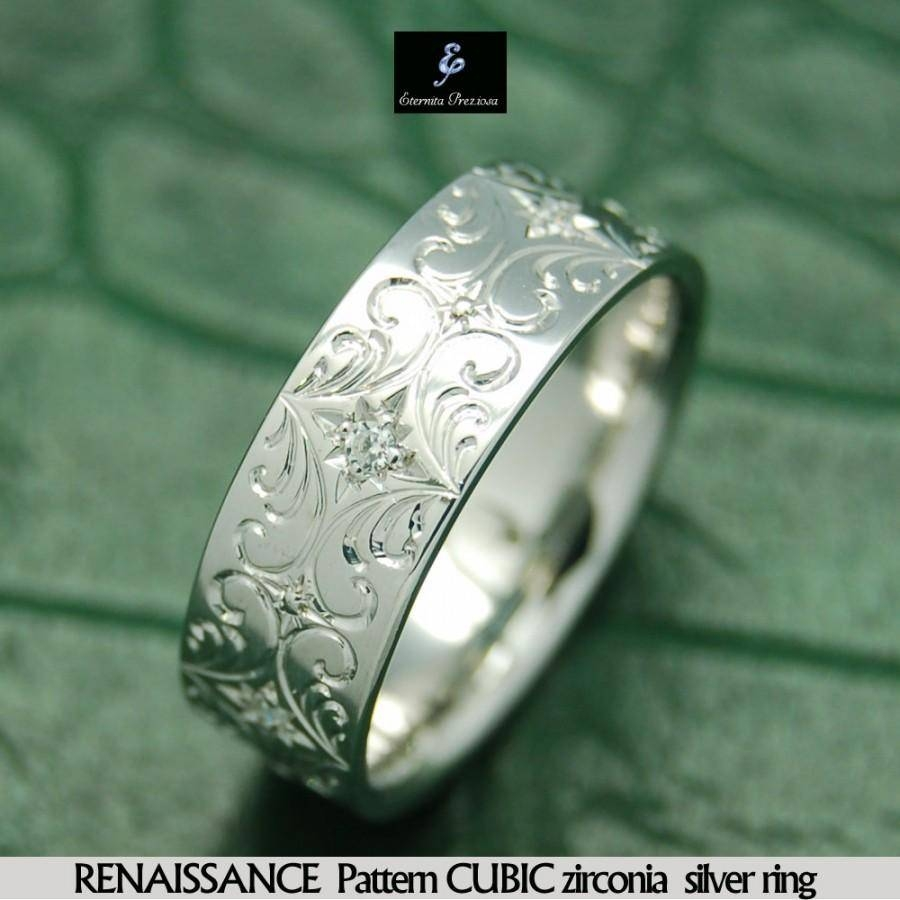 Renaissance Pattern Cubic Silver Ring, Hand Engraved Band Throughout Most Popular Engraving Anniversary Rings (View 3 of 25)