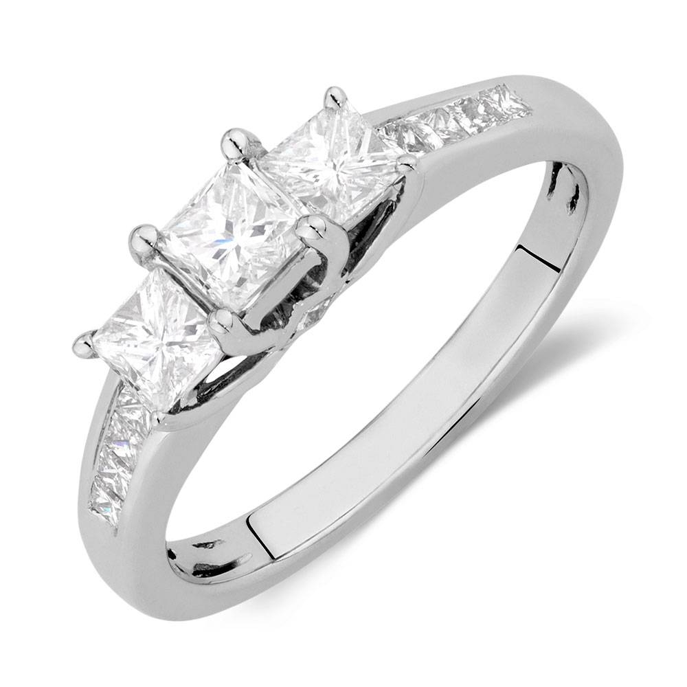 Ring With 1 Carat Tw Of Diamonds In 14Ct White Gold With Latest Three Stone Anniversary Rings (View 13 of 25)