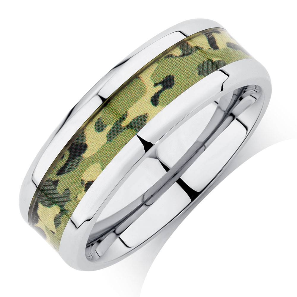 Ring With Camouflage Design In Stainless Steel With Regard To Most Up To Date Camo Anniversary Rings (View 16 of 25)