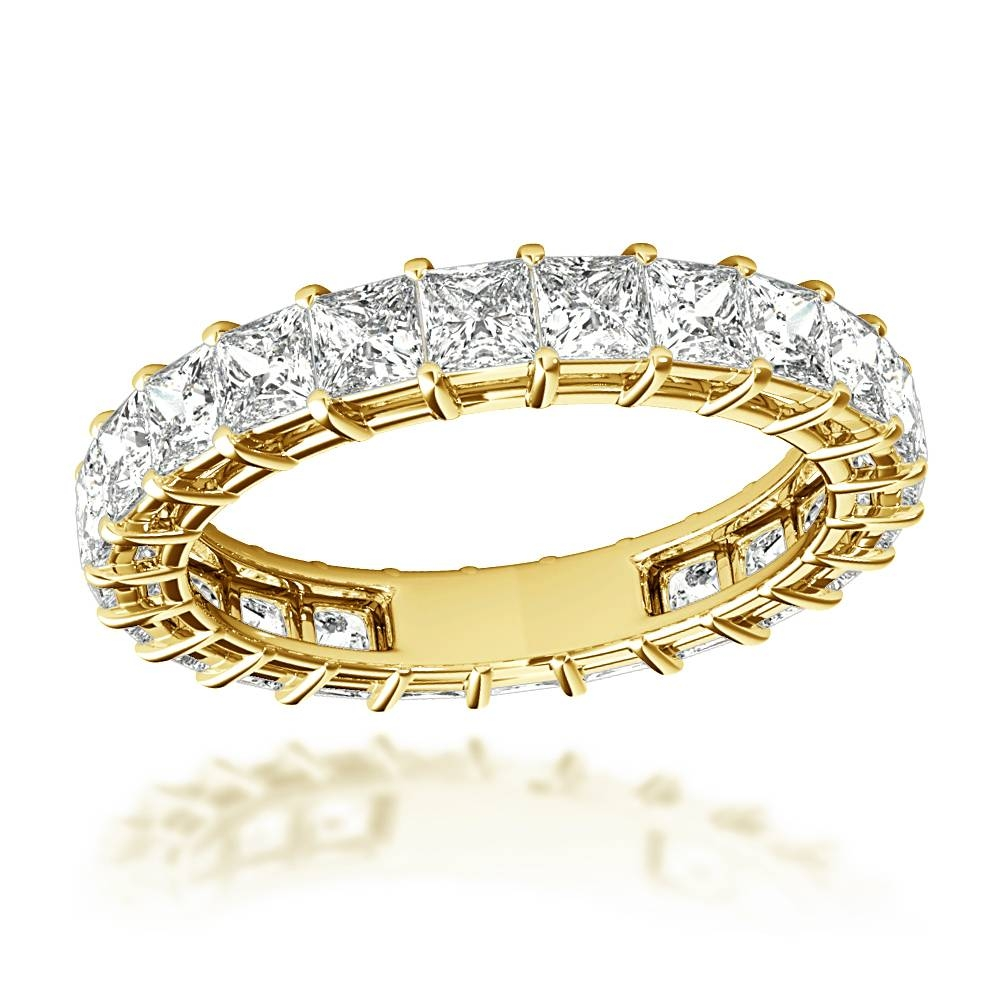 Rings 18K Gold Princess Cut Diamond Eternity Band 3Ct G/vs For 2017 Gold Anniversary Rings (View 23 of 25)