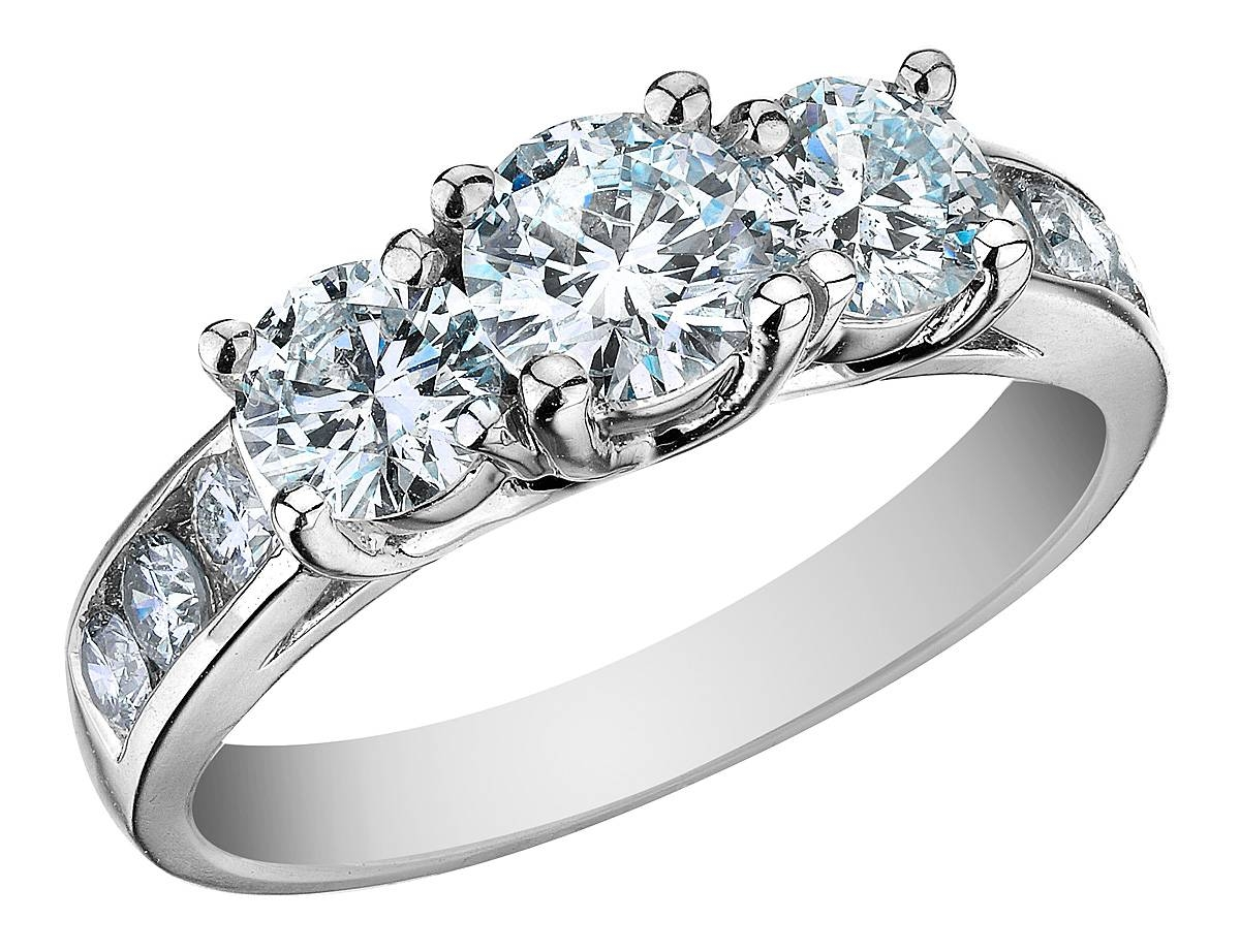 Rings : 3 Stone Yellow Diamond Engagement Rings Custom Diamond With Most Up To Date 3 Diamond Anniversary Rings (View 14 of 25)