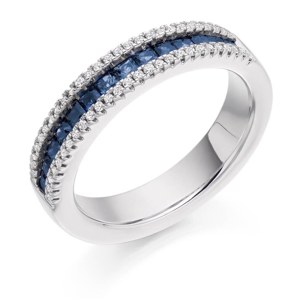 Rings : Anniversary Bands Sapphire Eternity Band White Sapphire Regarding 2018 Diamond And Sapphire Anniversary Rings (View 16 of 25)
