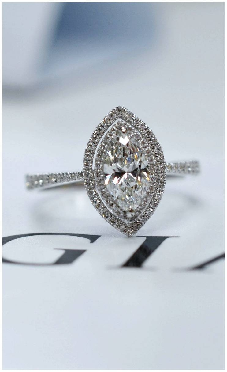 Rings : Marquise Halo Engagement Ring Marquise Cut Solitaire In Most Up To Date Marquise Cut Diamond Anniversary Rings (View 21 of 25)
