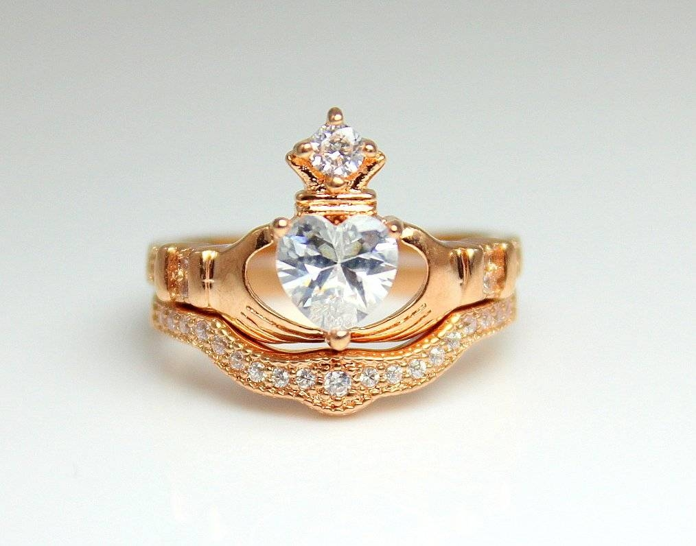 Rose Gold Claddagh Ring Set Engagement Irish Celtic Wedding With Regard To Most Popular Irish Anniversary Rings (View 21 of 25)