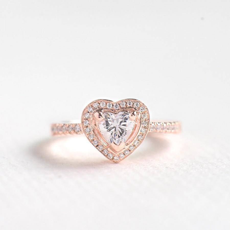 Rose Gold Cz Heart Cut Ring – Sterling Silver Engagement Ring Inside Most Recently Released Sterling Silver Anniversary Rings (Gallery 16 of 25)