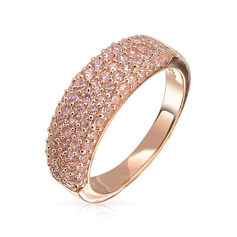Rose Gold Plated Silver Pink Cz Five Row Half Eternity Ring Within 2017 Cz Anniversary Rings (View 16 of 25)
