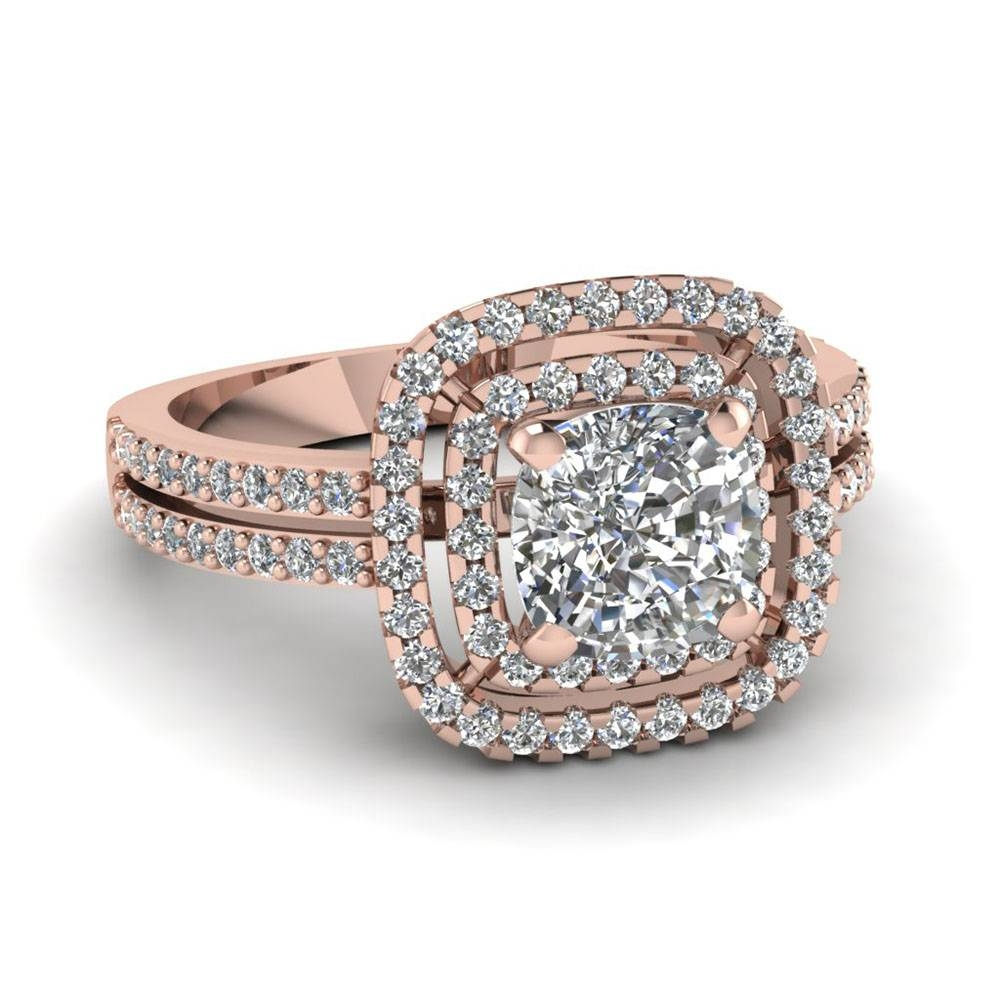 Rose Gold Wedding Rings Cool Cushion Cut Diamond Double Halo Within 2017 Cushion Cut Anniversary Rings (View 18 of 25)