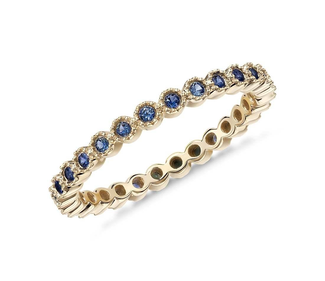 Round Blue Sapphire Eternity Band Ring In 14K Yellow Gold Plated Inside Latest Diamond And Sapphire Anniversary Rings (Gallery 17 of 25)