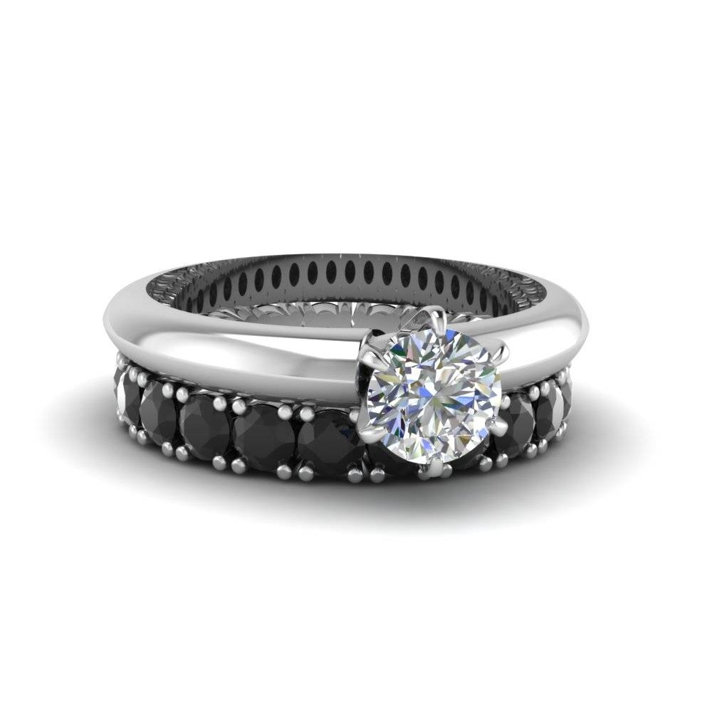 Round Cut Diamond Solitaire Engagement Ring With Eternity Band In In Most Up To Date Black Diamond Anniversary Rings (View 24 of 25)