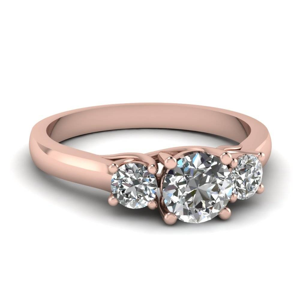 Round Diamond 3 Stone Engagement Ring In 14k Rose Gold For 2018 Blue Diamond Anniversary Rings (View 11 of 25)