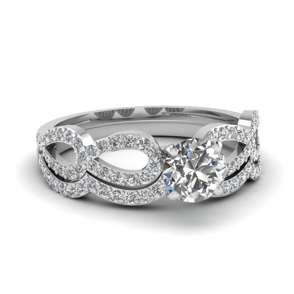 Round Diamond Infinity Loop Bridal Set In 14K White Gold For Most Recent Infinity Anniversary Rings (View 21 of 25)