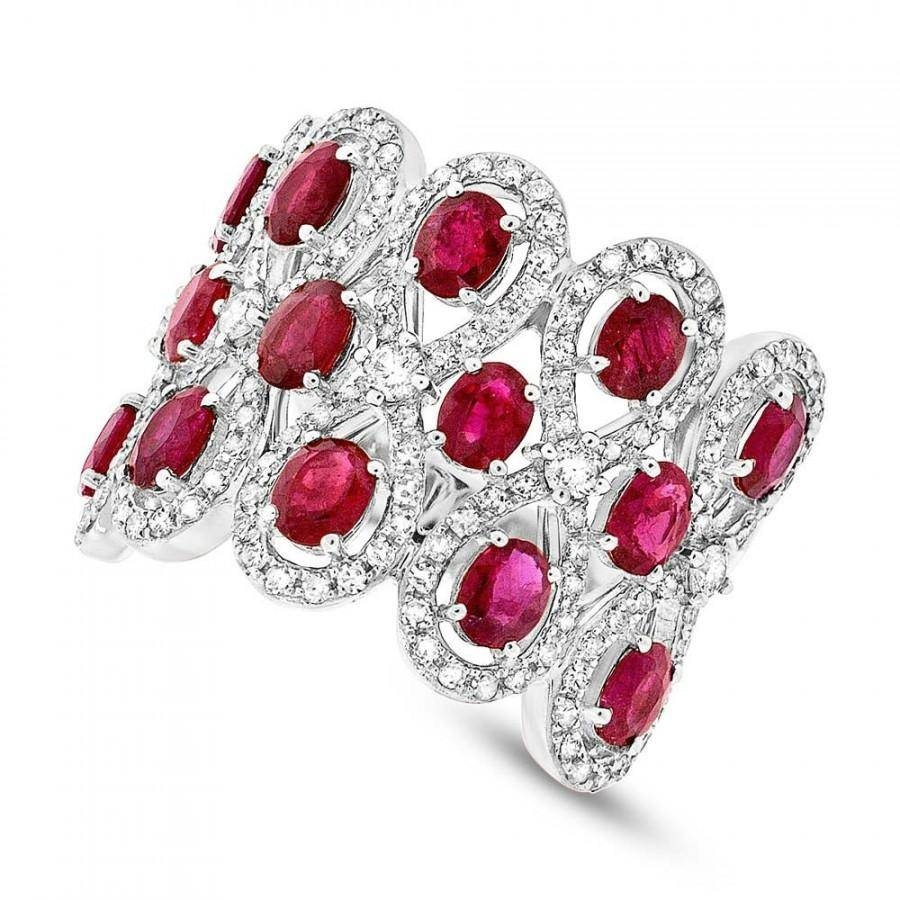 Ruby & Diamond 14k White Gold Ring – Wedding Rings – Wedding Bands With Most Recent Ruby Anniversary Rings (View 8 of 25)