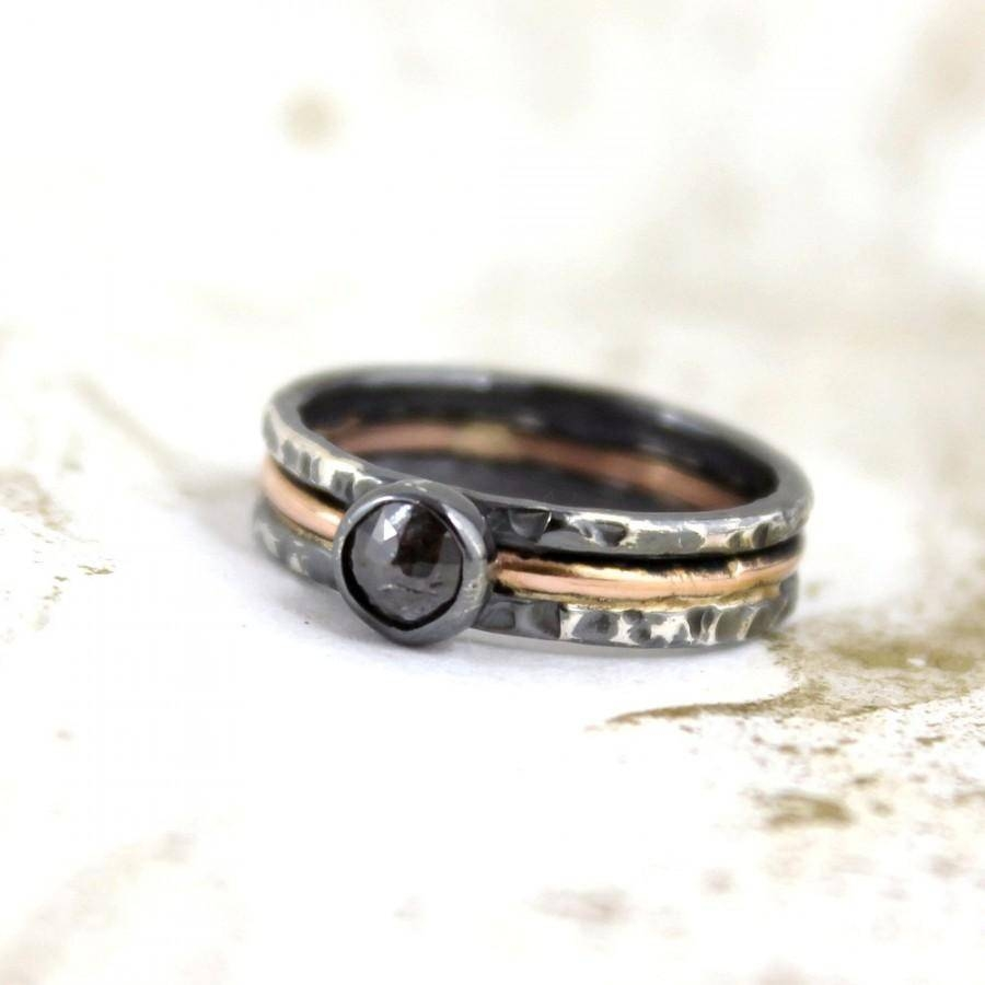 Rustic Rose Cut Diamond Ring – 14K Pink Gold And Black Sterling With Current Sterling Silver Anniversary Rings (View 21 of 25)