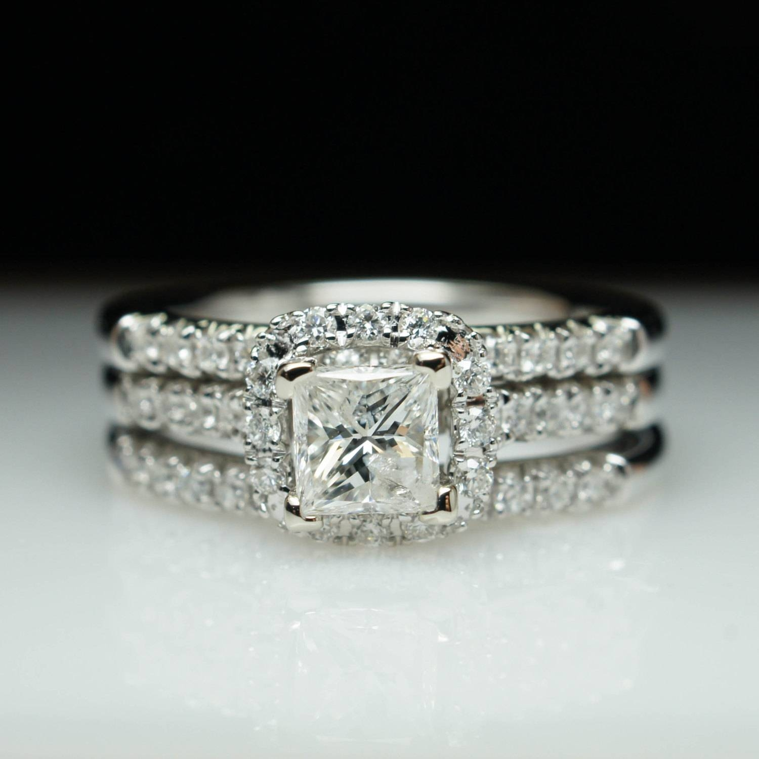 Sale Princess Cut Diamond Halo Engagement Ring & Two Wedding Inside Newest Anniversary Rings For Sale (View 14 of 25)