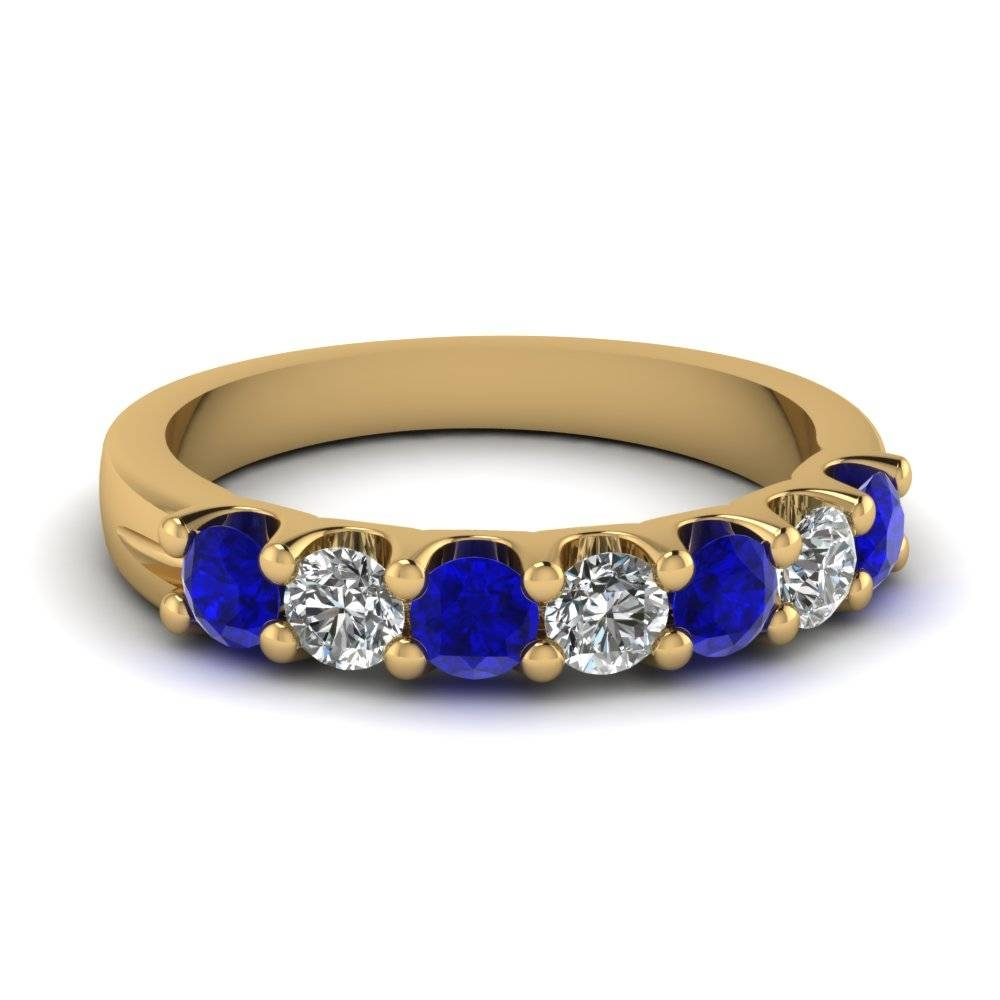 Sapphire 7 Stone Round Diamond Anniversary Band In 14K Rose Gold Pertaining To 2017 Blue Diamond Anniversary Rings (View 25 of 25)