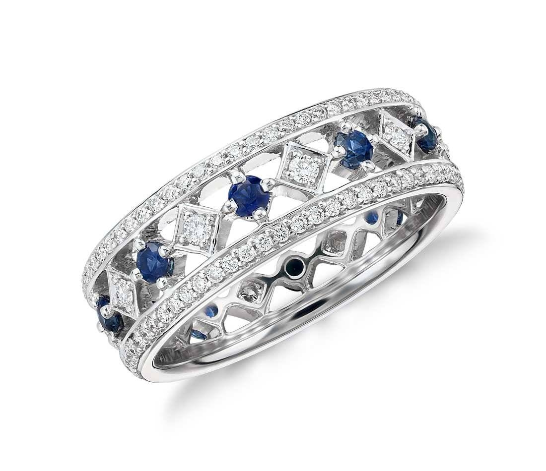 Sapphire And Diamond Eternity Ring In 18K White Gold – Tanary Jewelry With Regard To Current White Sapphire Anniversary Rings (Gallery 1 of 25)