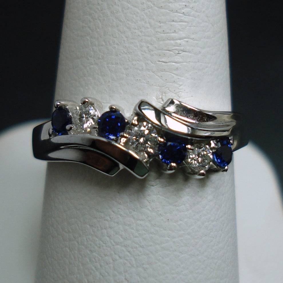 Sapphire And Diamond Ladies Ring – Hytrek's Jewelershytrek's Jewelers Throughout Most Popular Sapphire And Diamond Anniversary Rings (View 24 of 25)