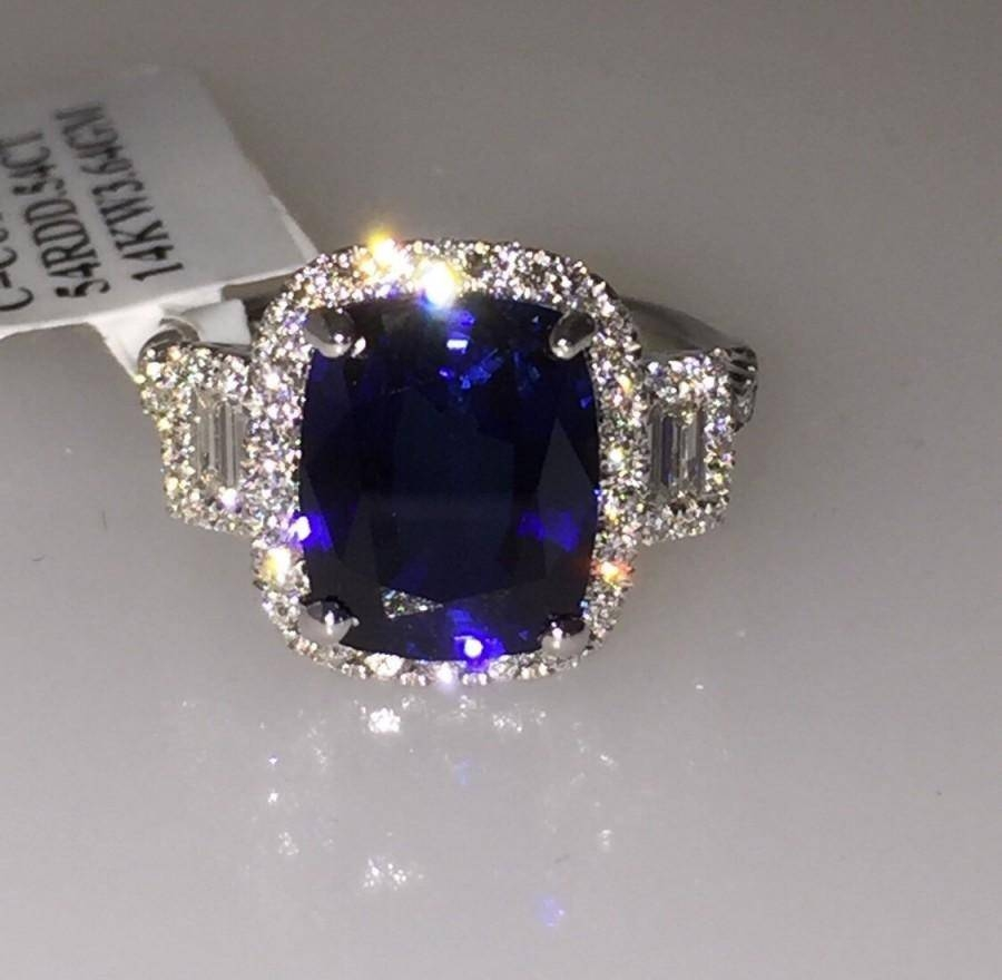 Sapphire & Genuine Diamond Engagement Ring 14Kt White Gold Halo With Most Current Sapphire Anniversary Rings (View 18 of 25)