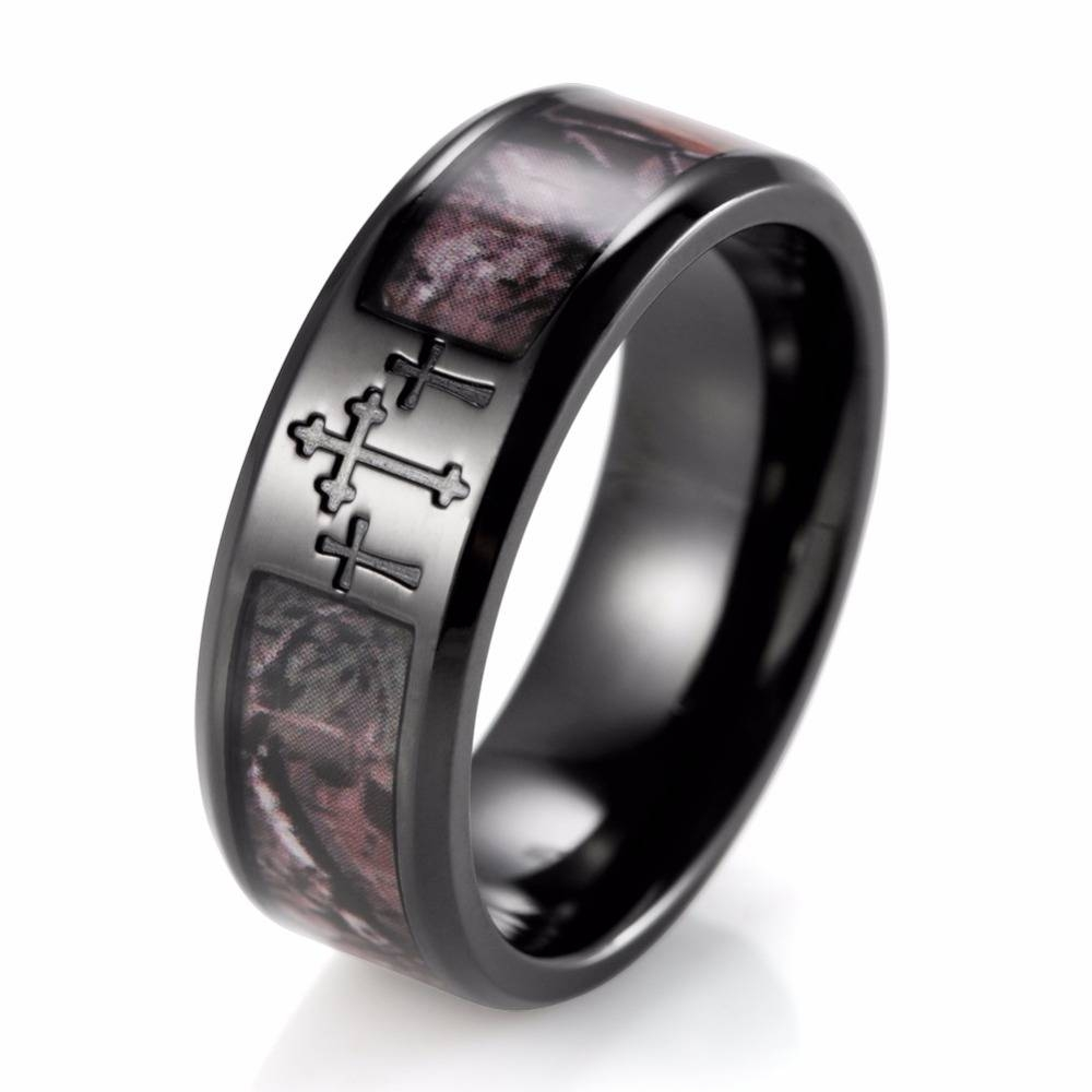 Shardon Men's Black Three Cross Camo Ring Titanium Outdoor Intended For Most Current Camo Anniversary Rings (Gallery 1 of 25)