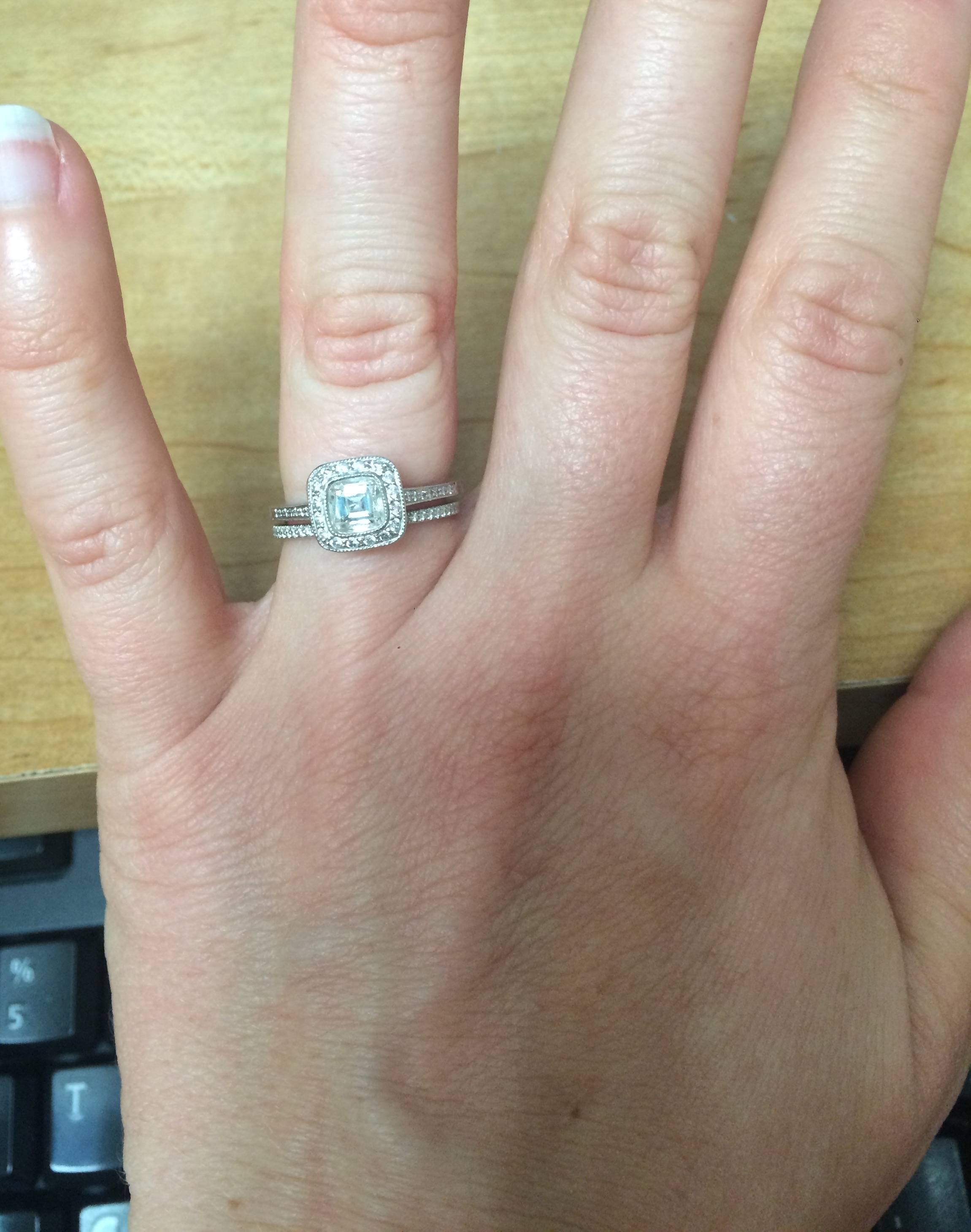 Show Me Your Thin Wedding Bands! – Weddingbee Pertaining To Newest 5 Year Anniversary Rings (View 9 of 25)