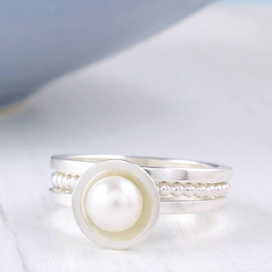 Silver Pearl Stacking Ring Setlouy Magroos With Most Popular 30Th Wedding Anniversary Rings (View 9 of 25)