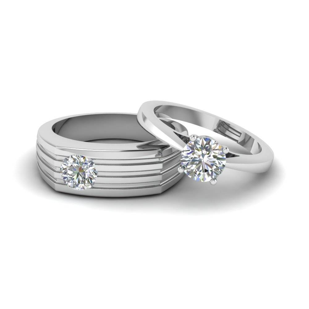 Solitaire Diamond Matching Wedding Anniversary Rings For Couples In Current Diamond Wedding Anniversary Rings (View 18 of 25)