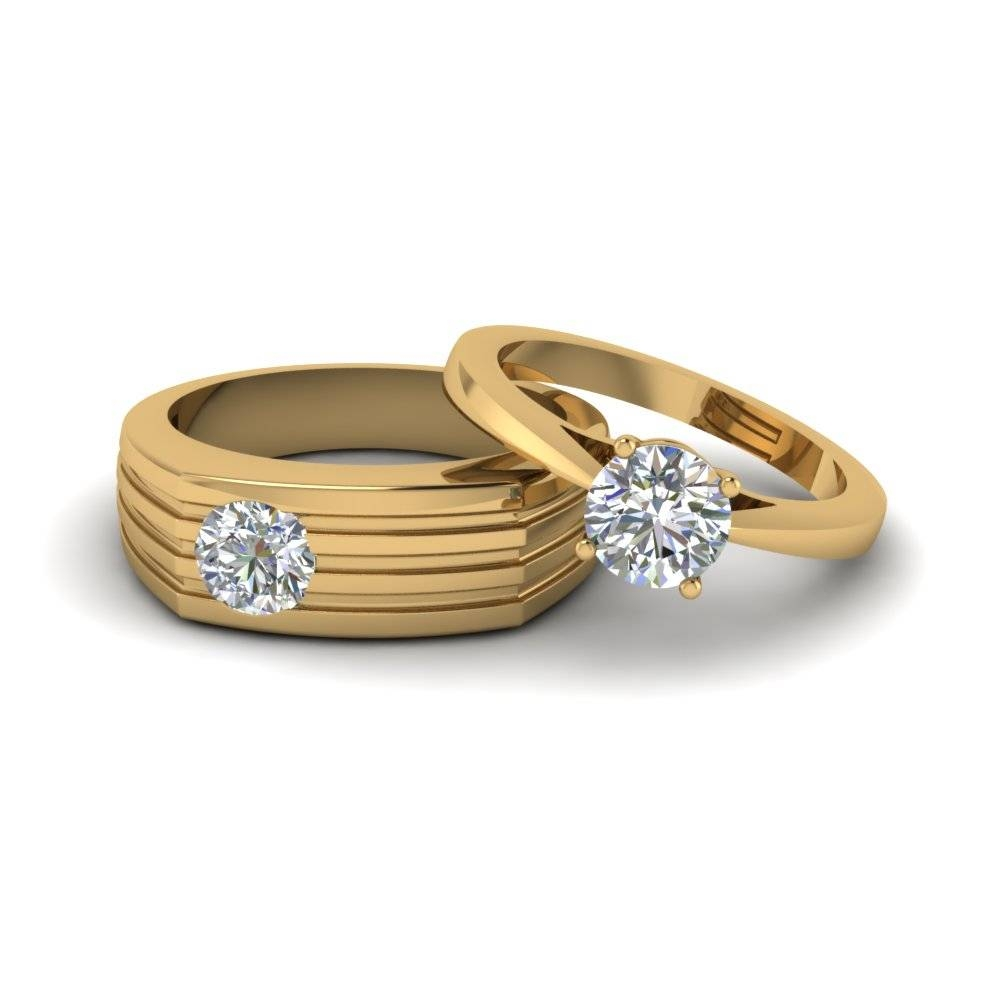 Solitaire Diamond Matching Wedding Anniversary Rings For Couples With Regard To 2018 Yellow Gold Anniversary Rings (View 23 of 25)
