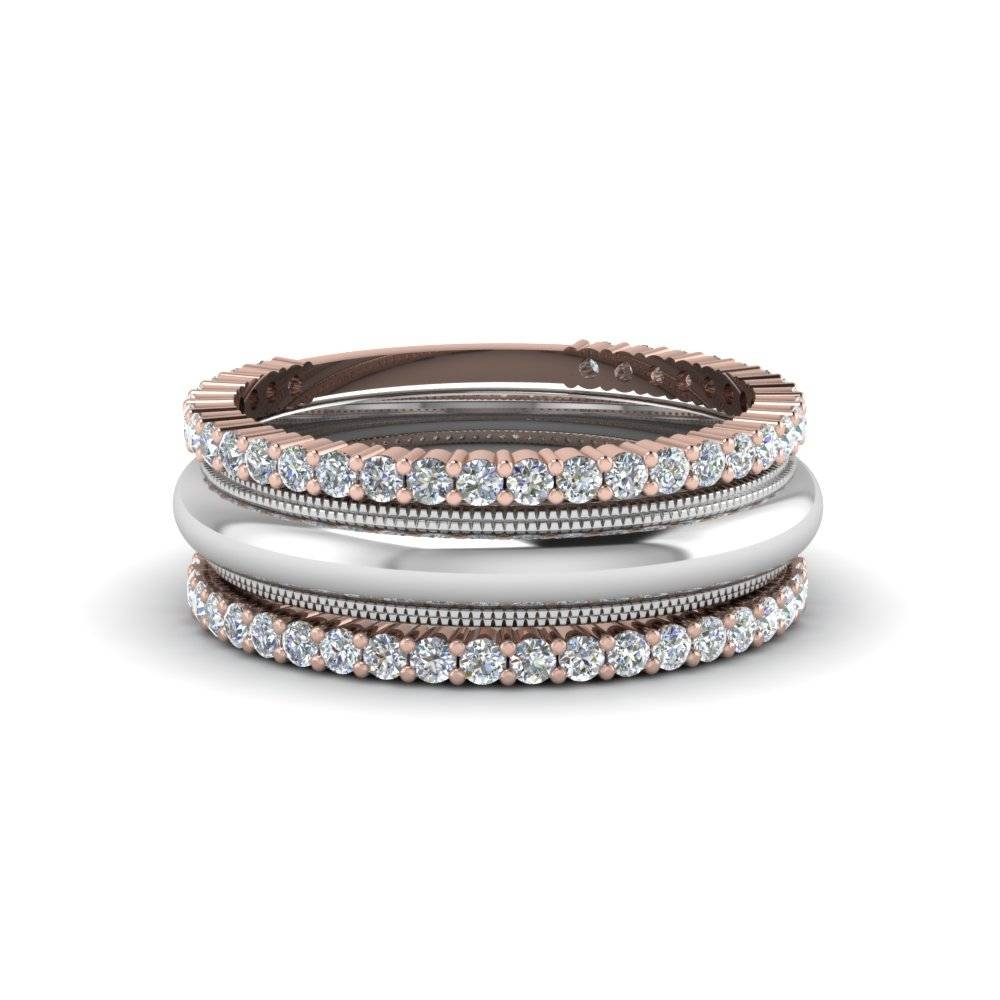 Stackable Diamond 2 Tone Anniversary Band In 14K Rose Gold For Most Recently Released Two Tone Anniversary Rings (View 19 of 25)