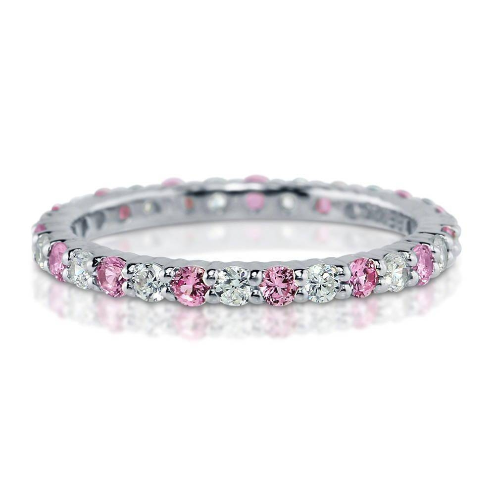 Sterling Silver Champagne Cubic Zirconia Cz Stackable Eternity Inside Newest Cz Anniversary Rings (View 17 of 25)