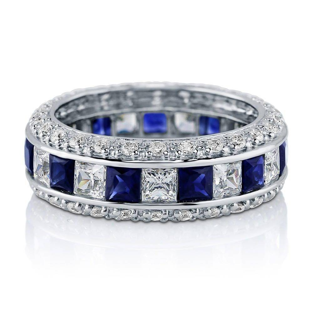 Sterling Silver Channel Set Princess Simulated Blue Sapphire Cubic With Regard To 2018 Blue Sapphire Anniversary Rings (View 5 of 25)