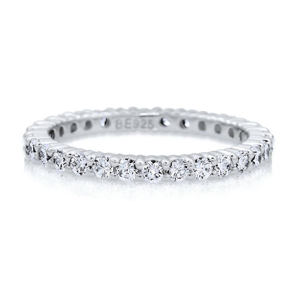 Sterling Silver Cubic Zirconia Cz Stackable Eternity Ring #r448 Pertaining To Current Silver Anniversary Rings (Gallery 18 of 25)