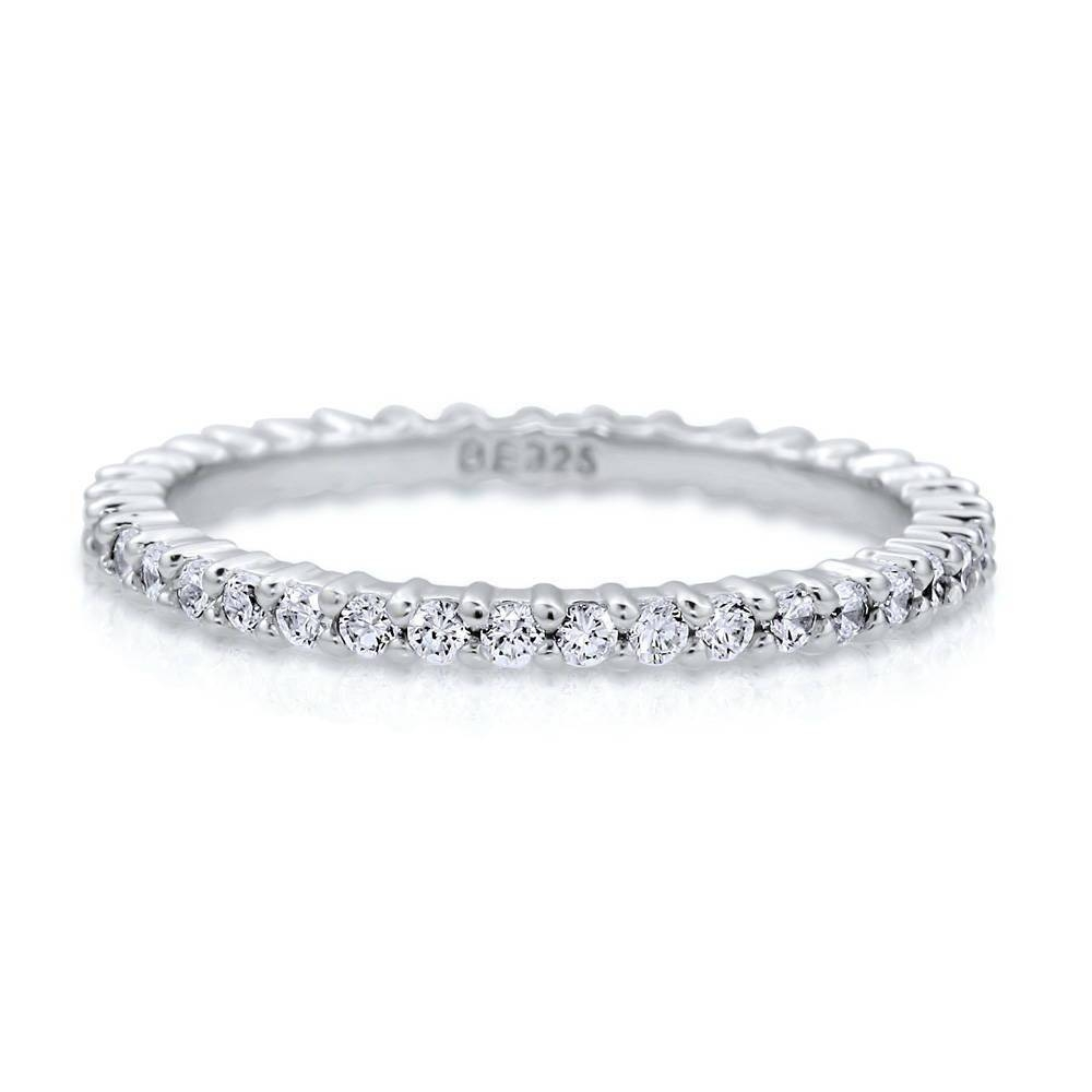 Sterling Silver Cubic Zirconia Cz Stackable Eternity Ring #r448 With Regard To Current Cubic Zirconia Anniversary Rings (View 24 of 25)
