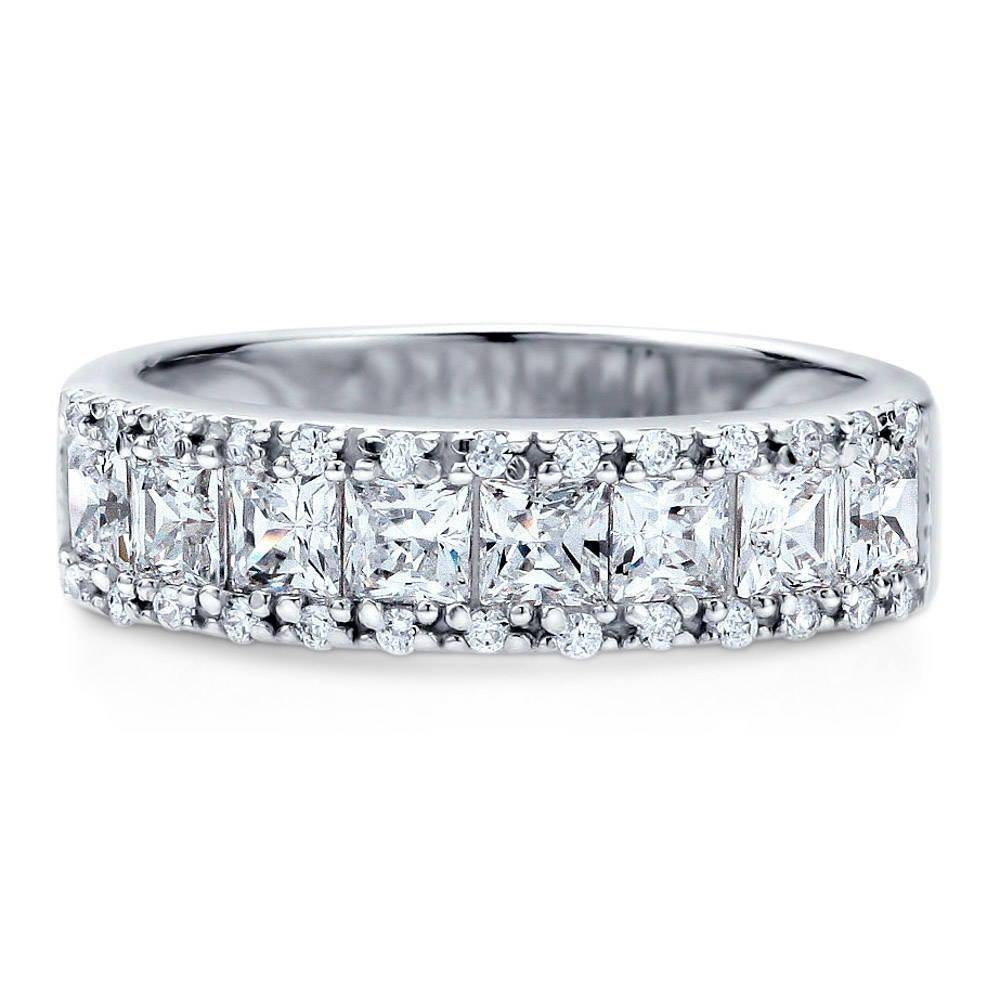 Sterling Silver Cubic Zirconia Cz Stackable Half Eternity Ring #r863 In Best And Newest Cubic Zirconia Anniversary Rings (View 25 of 25)