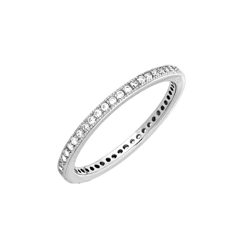 Sterling Silver Pavé Eternity Ring | Azendi Jewellery Inside Newest Pave Anniversary Rings (Gallery 4 of 25)