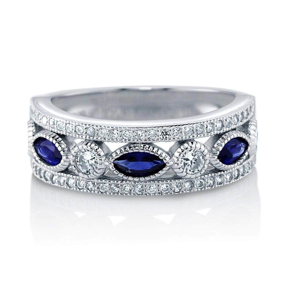 Sterling Silver Simulated Blue Sapphire Cubic Zirconia Cz Art Deco For 2018 Blue Sapphire Anniversary Rings (View 2 of 25)
