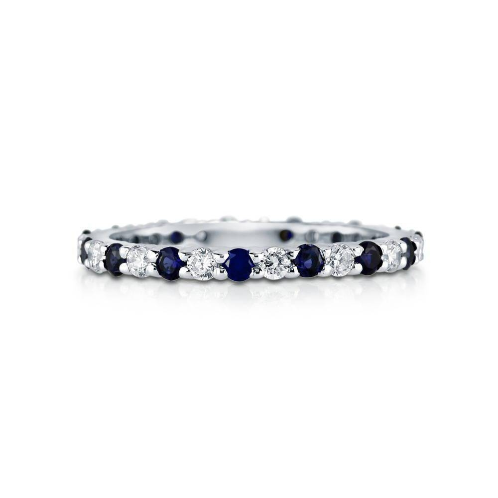 Sterling Silver Simulated Blue Sapphire Cubic Zirconia Cz With Newest Blue Sapphire Anniversary Rings (View 6 of 25)