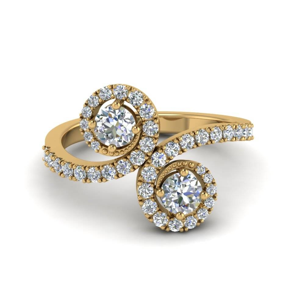 Swirl Halo 2 Stone Diamond Engagement Ring In 14K Yellow Gold Pertaining To 2018 Unique Anniversary Rings For Her (View 7 of 25)