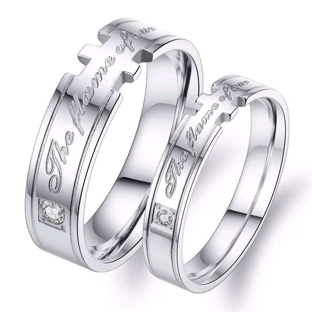 The Flame Of Our Love Stainless Steel Jewelry His And Hers Pertaining To Most Popular Anniversary Rings For Couples (View 17 of 25)