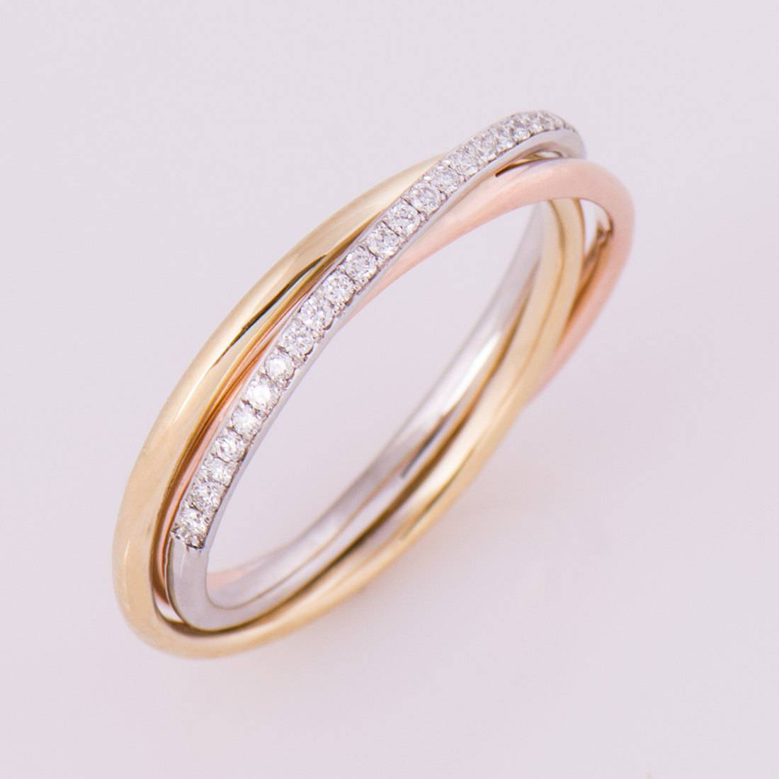 Three Tone Ring 14K / 18K Gold Diamonds Band Anniversary With Latest Stackable Anniversary Rings (Gallery 4 of 25)