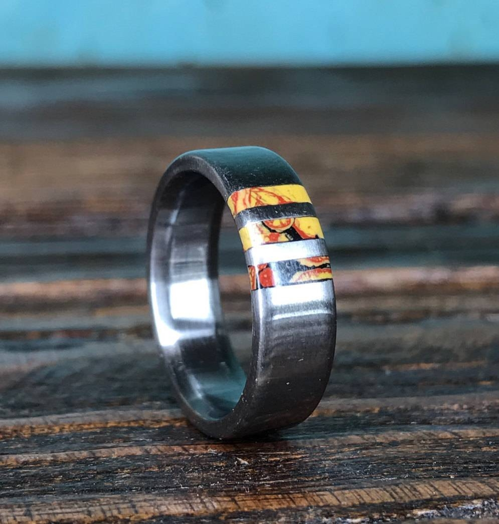 Titanium Ring Dinosaur Bone Ring Wedding Ring Mens Ring In Most Popular Titanium Anniversary Rings (Gallery 24 of 25)