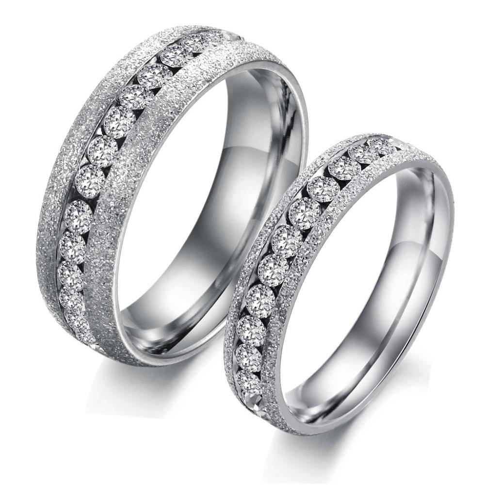 Titanium Stainless Steel Cz Cubic Zirconia Austrian Crystal With Best And Newest Cz Anniversary Rings (Gallery 25 of 25)