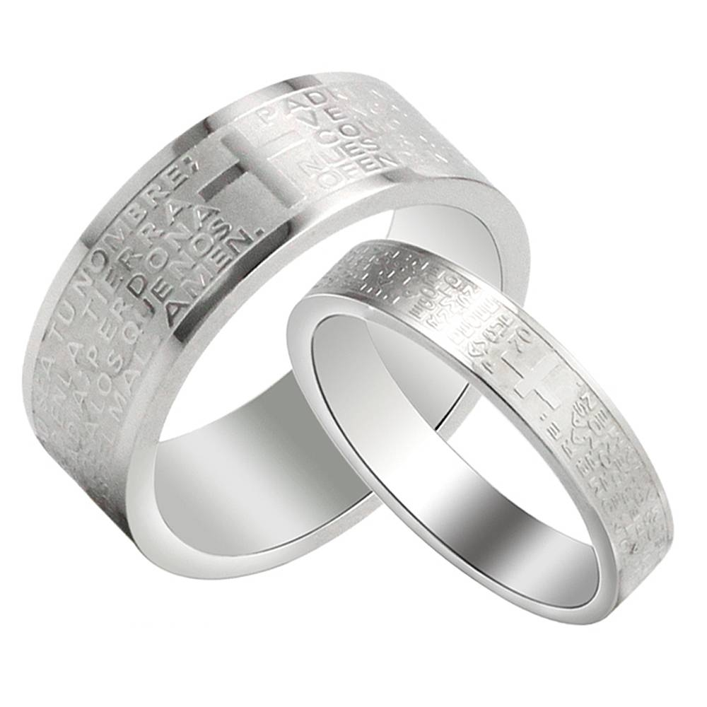 Titanium Steel His And Hers Wedding Band Engraved Bible Cross In Most Popular Engraved Anniversary Rings (View 22 of 25)
