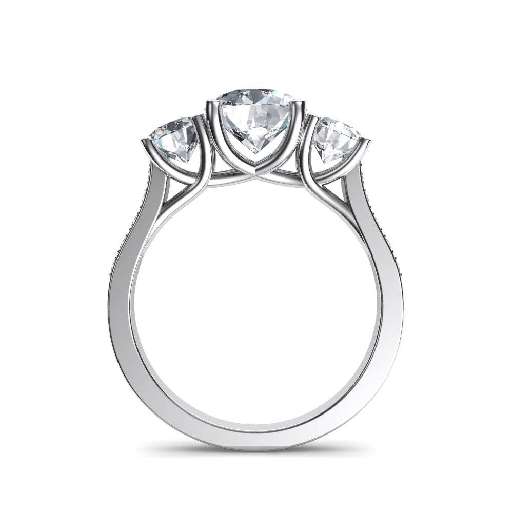 Trellis Trilogy 3 Stone Pavé Diamond Engagement Ring In Most Up To Date 3 Stone Anniversary Rings Settings (View 12 of 25)